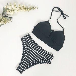 8d13adeec1b04 aerie. Black and White High Waist Two Piece Bikini